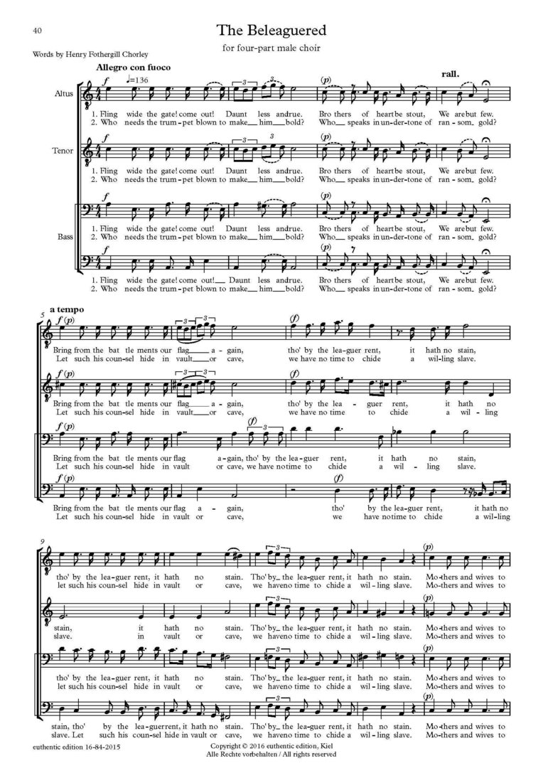 Sullivan, Arthur: Part song for male choir a cappella – The Beleaguered