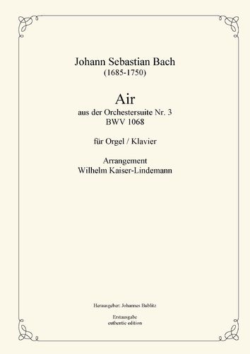 Bach, Johann Sebastian: Air from orchestral suite No. 3 D major BWV 1068.2 for organ/piano