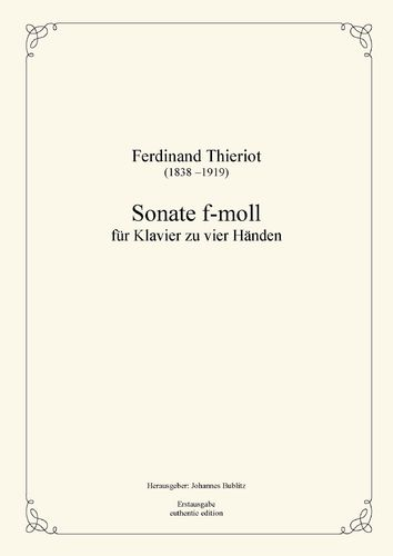 Thieriot, Ferdinand: Sonata F minor  for piano four hands (four-handed layout)