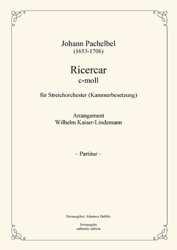 Pachelbel, Johann: Ricercar C minor for Strings (chamber orchestra)