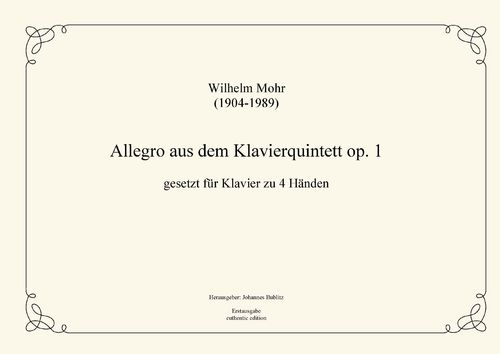 Mohr, Wilhelm: Allegro from op. 1 for piano four hands