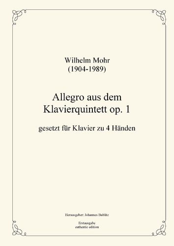 Mohr, Wilhelm: Allegro from op. 1 for piano four hands (four-handed layout)