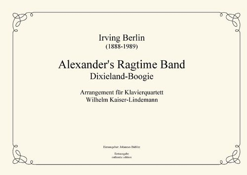 Berlin, Irving: Alexander's Ragtime Band for piano quartet
