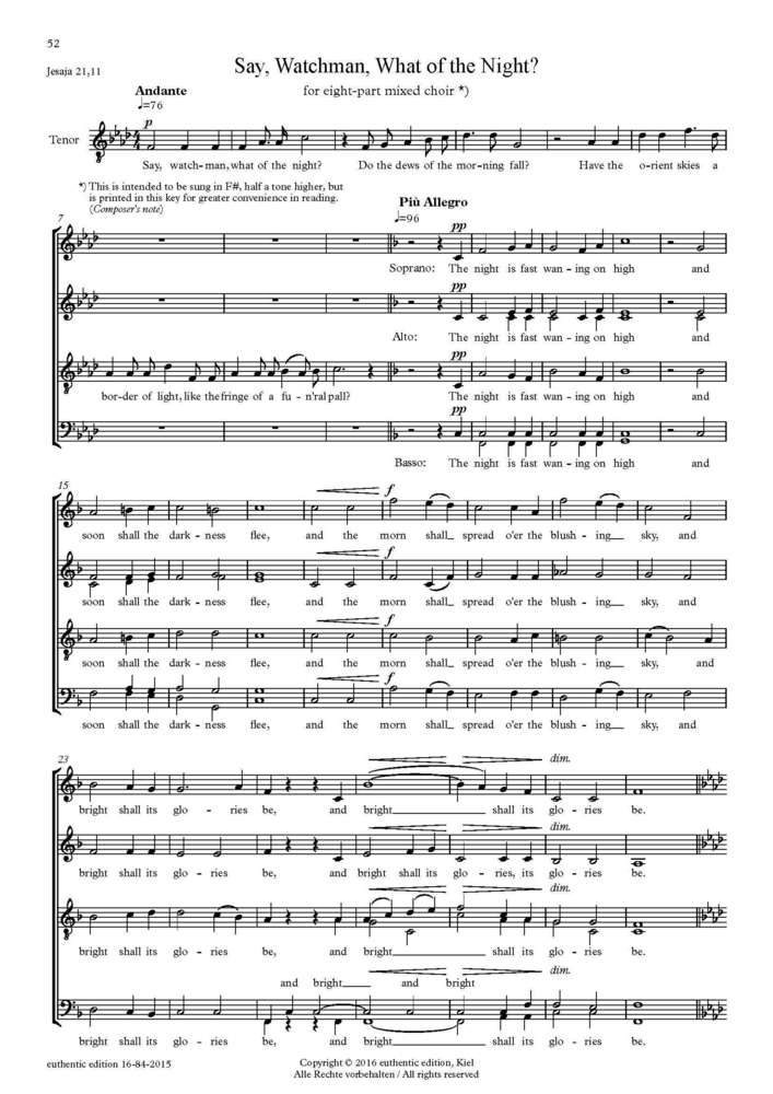 Sullivan, Arthur: Part song for choir a cappella – Say, Watchman