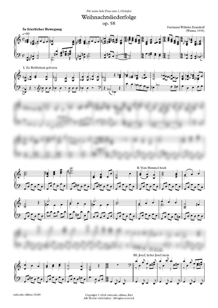 Kranzhoff, Ferdinand Wilhelm: Medley of Christmas carols op. 58 for ...